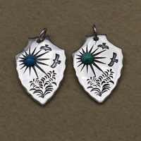 Thai Silver Tag Pendant S925 Sterling Silver Fashion Jewelry Turquoise Pendant