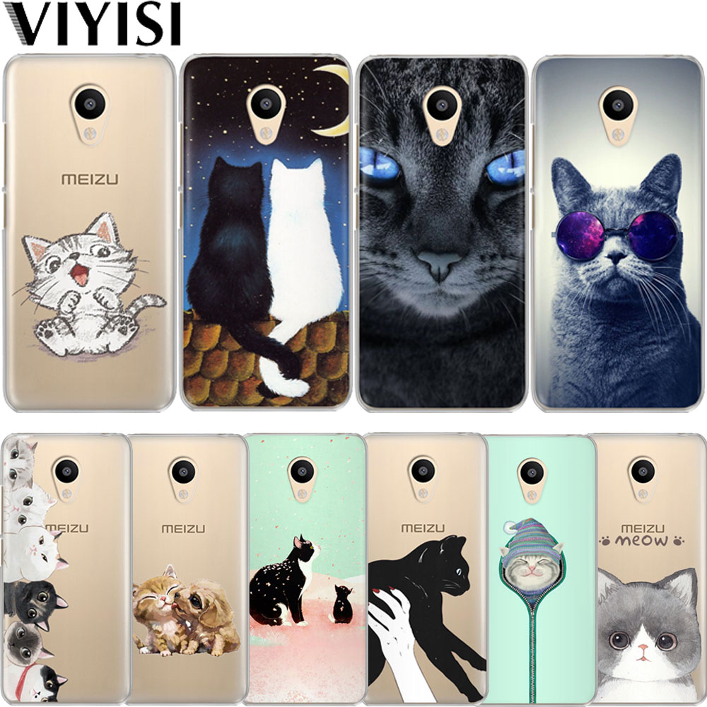 VIYISI Cute Cat Animal For Meizu M6 5 Note Phone Case Cover M5S 5C M3s 3 Pro6 U10 U20 Soft Silicone TPU Back Coque Shell