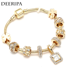 CUTEECO Gold Color Crystal Charm Bracelets For Women Girl With Golden Four-Leaf Clover Brand Bracelet & Bangle Jewelry Gifts