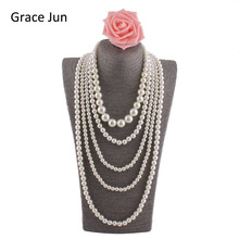 Grace Jun(TM)  New Fashion Handmade Multi-strand Pearl Necklace for Women Party Statement  Pendant Necklace High Quality  33.8""