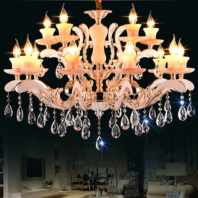 New High-end Zinc Alloy Crystal Pendant Room Dining Room Bedroom Villa Jade Pendant