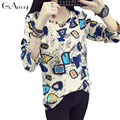 Plus Size Long sleeved women's t-shirts loose Casual spring autumn new women wild school students printed Tshirt