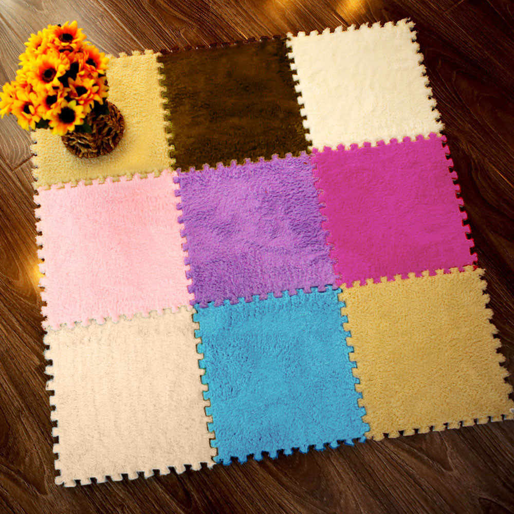 Novo 25x25 cm crianças tapete espuma quebra-cabeça eva shaggy veludo bebê eco piso 7 cores # t2