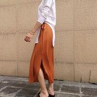 Elegant and elegant wrinkled waist miyake pleats skirt free shipping