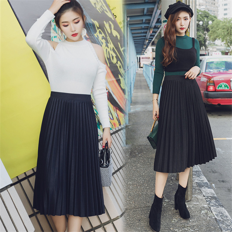 Hodisytian Autumn New Fashion Women Skirts Double Layer Pleated Tulle Mid Length High Waist Saia Feminina Vintage Korea Style