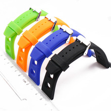 Silicone strap men's outdoor sports waterproof strap pin buckle 20mm watch accessories rubber strap women watch band цена и фото