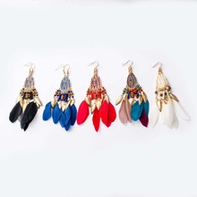 2019 New Women Earrings Jewelry Long Earrings Colored Feather Drop Earring Lady Statement Earrings Ethnic Style Feather Earrings dreamcatcher design feather drop earrings