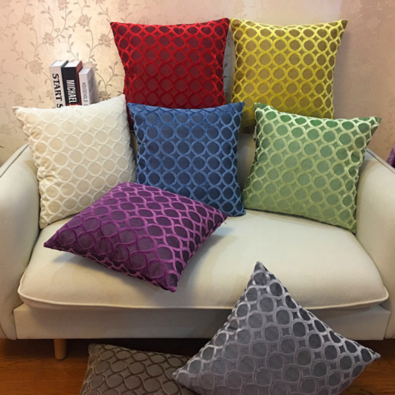Chenille Flocking Pillow Case Cushion Cover Grey Yellow Purple Red Green Coffee  Circle Home Decorative Pillow Cover 45x45cm