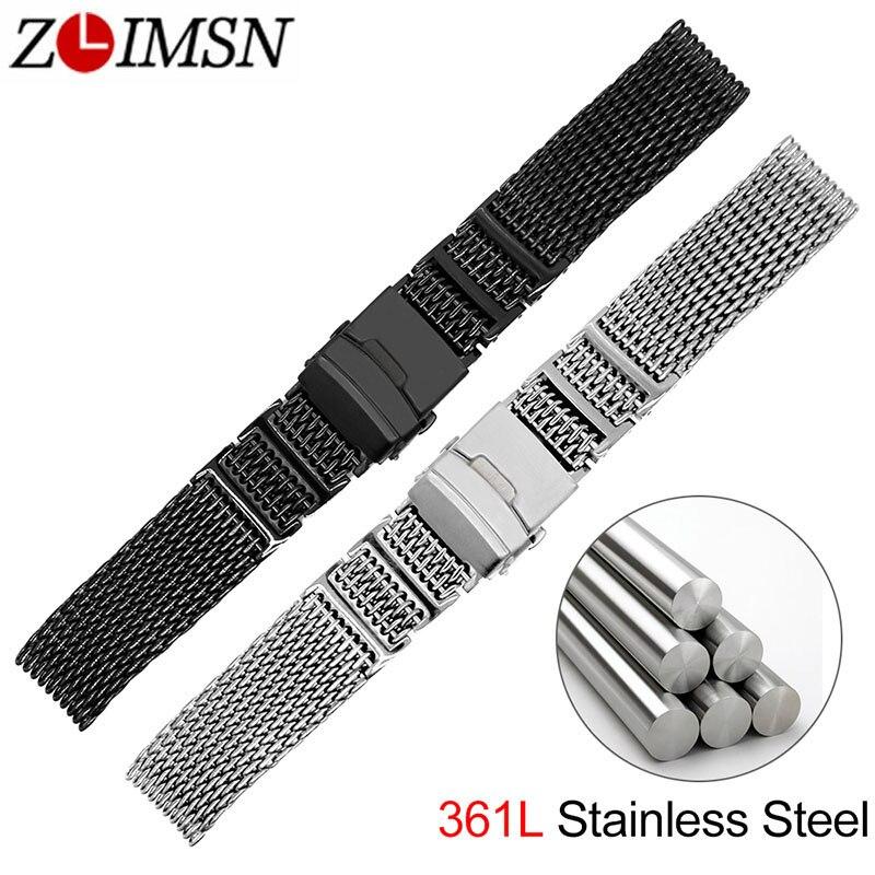 ZLIMSN New Stylish Mesh Watchband 316 Stainless Steel Black Silver Strap 20mm 22mm 24mm Watches Accessories Watch band недорго, оригинальная цена