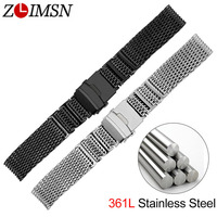 ZLIMSN New Stylish Mesh Watchband 316 Stainless Steel Black Silver Strap 20mm 22mm 24mm Watches Accessories Watch band