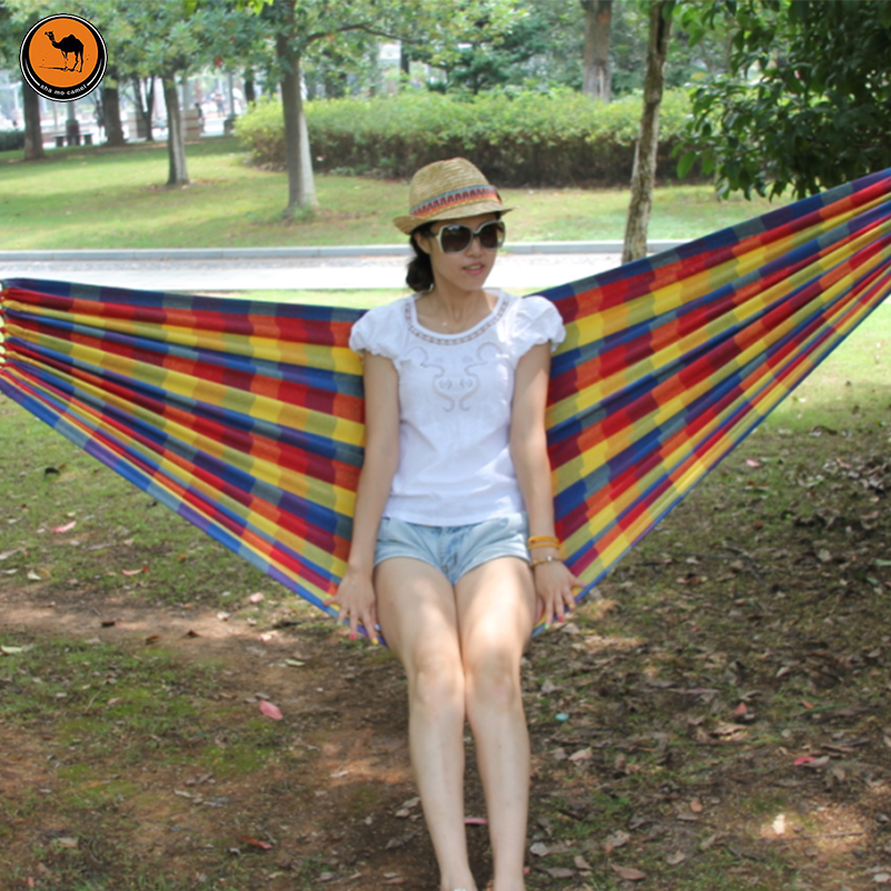 High Strength Portable Hammock 200*100cm 2 Person Mother&Child Woven Cotton Fabric Rainbow Color Lattice Striped