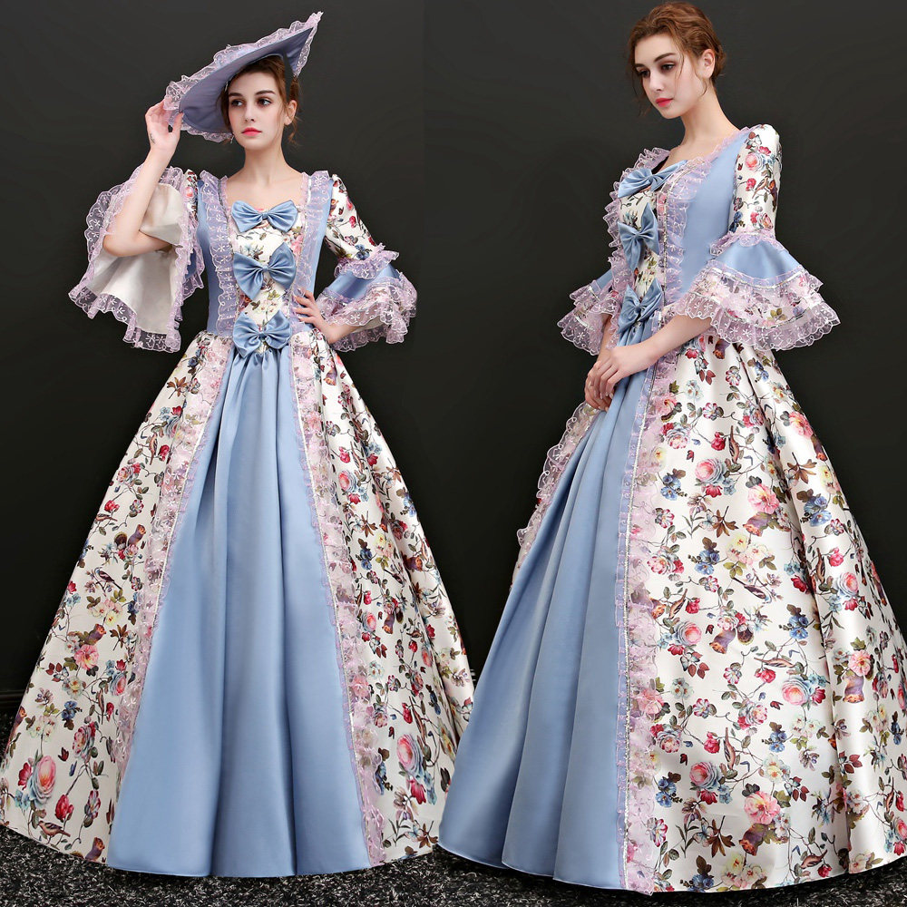 Georgian Gothic Southern Belle Victorian Printing Dress