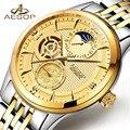 Модные Роскошные Брендовые мужские часы AESOP 2018 новые автоматические механические часы золотые мужские наручные часы с скелетом relogio masculino