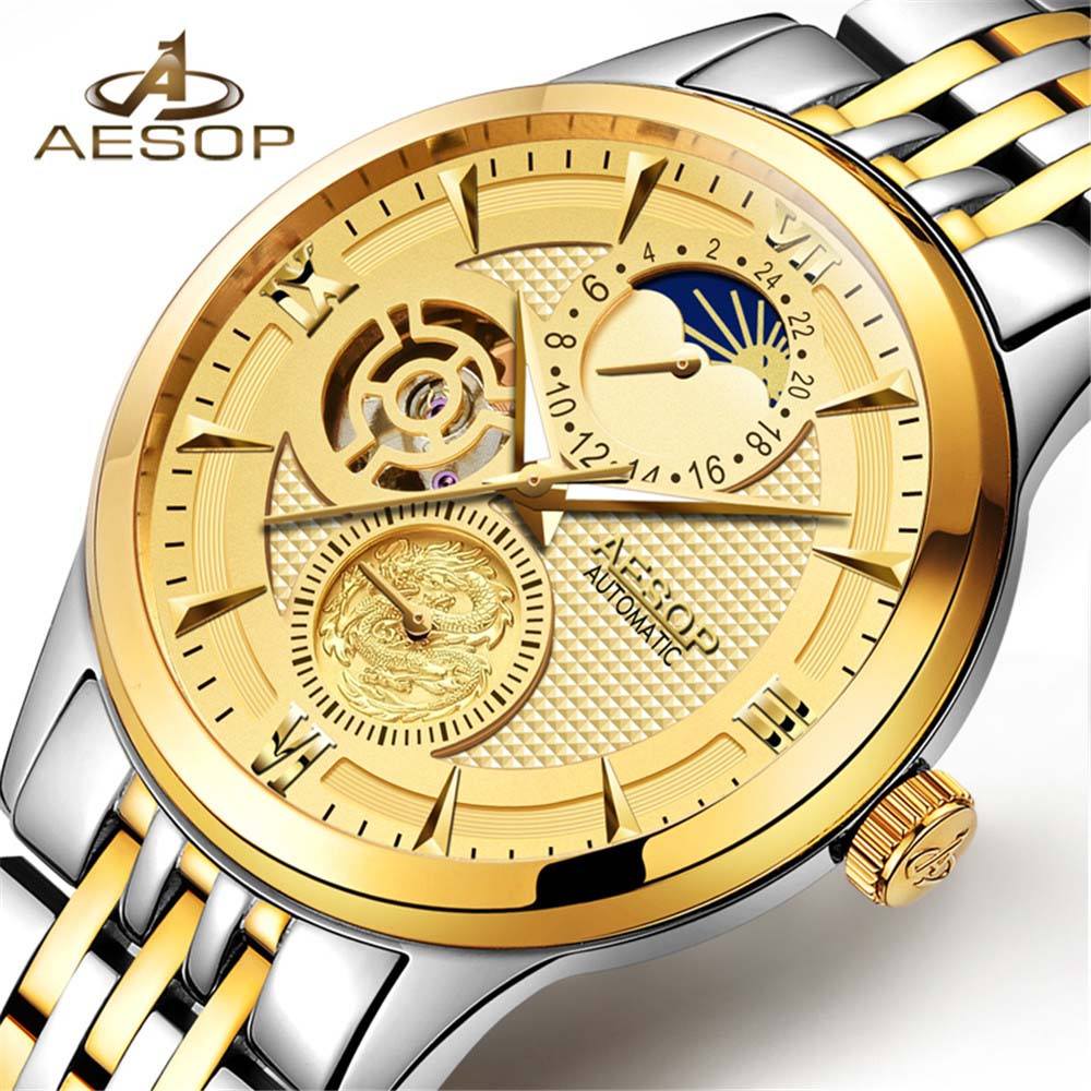 Fashion Luxury Brand AESOP Men Watches 2018 New Automatic Mechanical Watch Gold Male Skeleton Wristwatch relogio masculino new ik gold skeleton lxuury watch men silver steel automatic mechanical watches mens fashion business dress wristwatch relogio