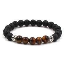 7 Colors Essential Oil Perfume Diffuser 8mm Black Lava Stone Beads Bracelet Tiger's Eye Beads Bracelet Stretch Yoga Jewelry