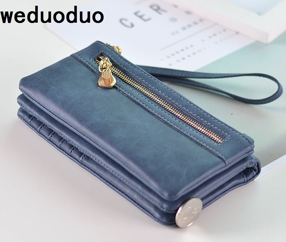 Brand Wallet Fashion Women Wallet Double Zipper Female Clutch Purse Froasted PU Leather Money Case Coin Pocket Card Holder