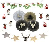 15pcs/set Christmas Paper Kit Honeycomb Santa Claus/Snowman/Deer Mistletoe Garland Reindeer Fans Pinwheel Rosettes Decor