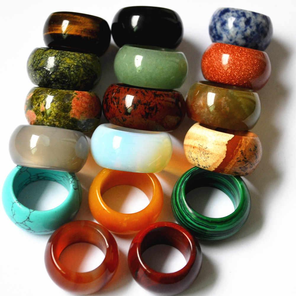 10 шт оптовая продажа цветов смешанный натуральный камень Гладкий Многоцветный опал модные перстни ювелирные изделия для женщин мужчин 15 мм 17 #18 #20 #22 #