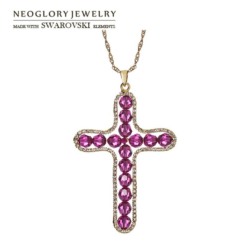 Neoglory austria crystal   auden strass lunga collana pendente squisito  disegno cross per trendy famiglia regalo di natale ccd362404722