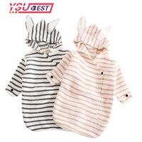 Adorable Rabbit Stripe Baby Stroller Sleeping Bag Spring Autumn Newborn Infant Knitted Swaddle Wrap Nest Envelopes Toddler Kids