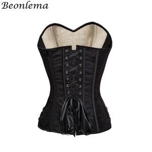 Image 3 - Beonlema corsé de malla Steampunk para mujer, corpiño de hueso de acero, corsé ajustado en la cintura, corpiño a rayas de albaricoque, corpiño de talla grande, corpiño para Overbust