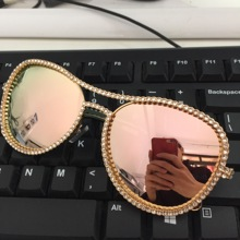 HBK Pilot Sunglasses Women Decorative Rhinestone Brand Designer Copper Frame HD Clear lens Double Bridge Sun Glasses