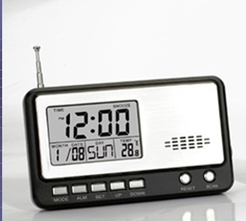 Multifunctional FM radio with digital clock, calenda, alarm, temperature commercial advertising gift, OEM logo, best promotion