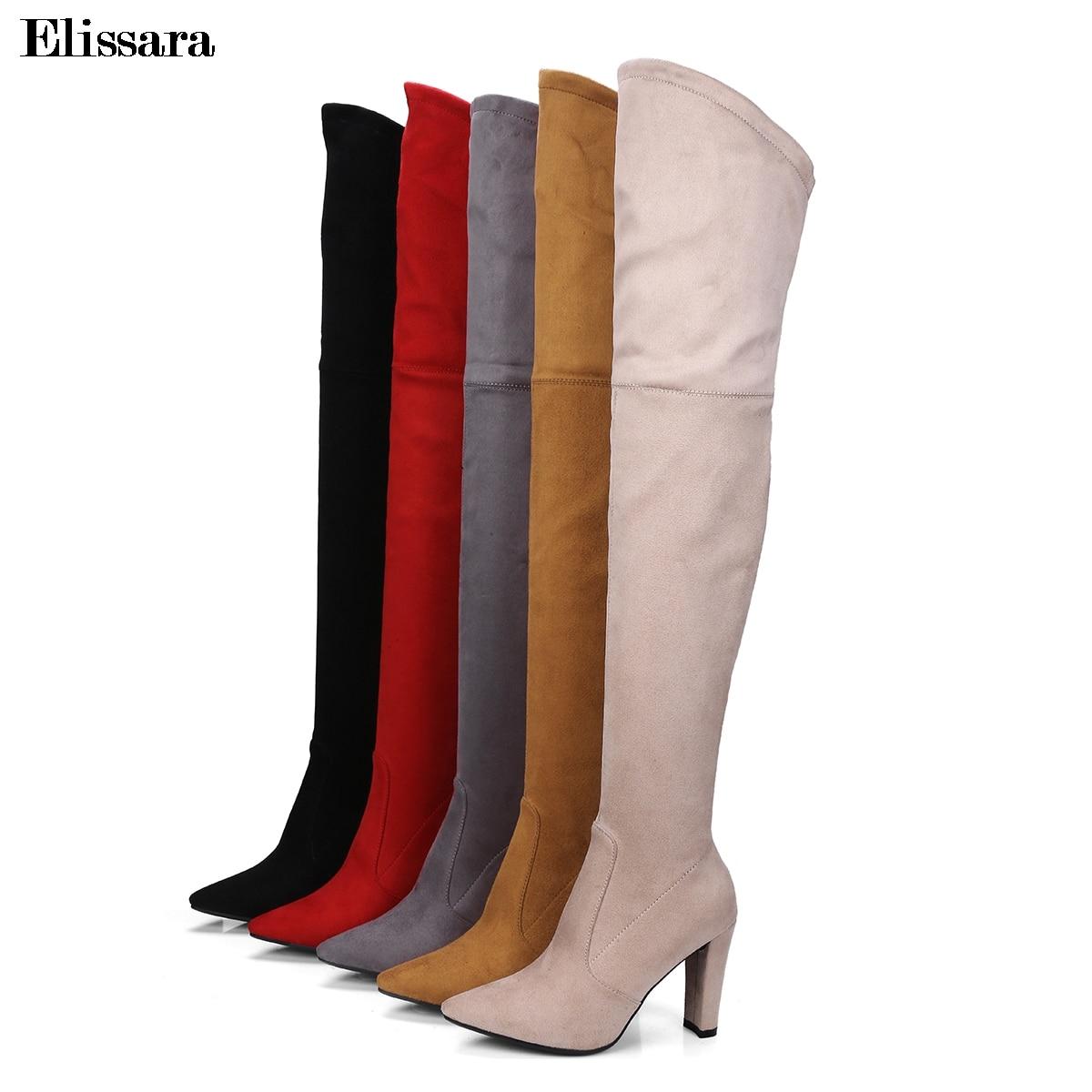 Elissara Sur Chaussures Hauts Haute gris Noir marron Bottes Partie Talons Zip Troupeau 34 Sexy Femme D'hiver apricot rouge Femmes Noir De Cuisse Taille 43 Genou kZiuwPTOXl