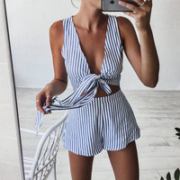Strapless Striped Lace Up Jumpsuit Women Romper Suit Summer Bandage Jumpsuit Lady New Shorts Beach V