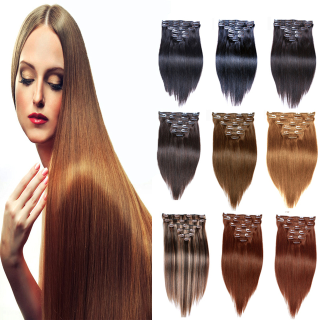 Ruifa Hair Clip In Human Hair Extensions 120g Brazilian Straight