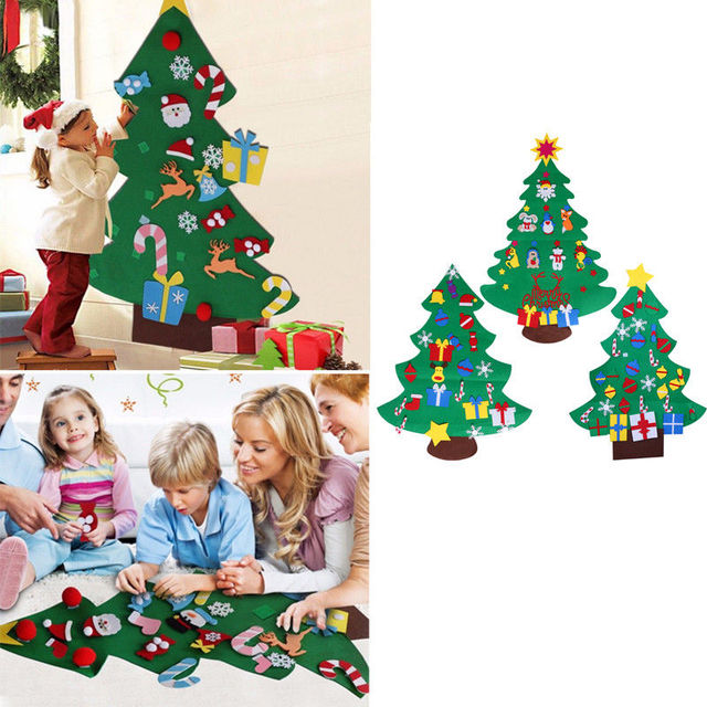 New Year Gifts Kids DIY Felt Christmas Tree Decorations Christmas Gifts for 2018 New Year's Door Wall Hanging Ornaments