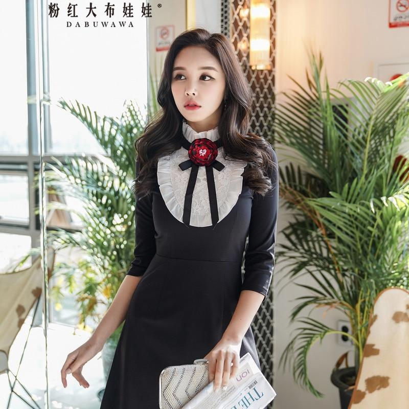Dabuwawa Women's Autumn Long-Sleeved Dress Lace-up Contrast Color Splicing Dress Fashion Floral Sweet Mini Dress