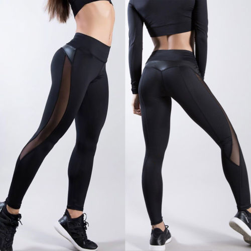 Sexy Women's Gym Fitness   Leggings   Running Sports Breathable Compression High Waist Exercise Mesh Dry Quick Jogging Pants