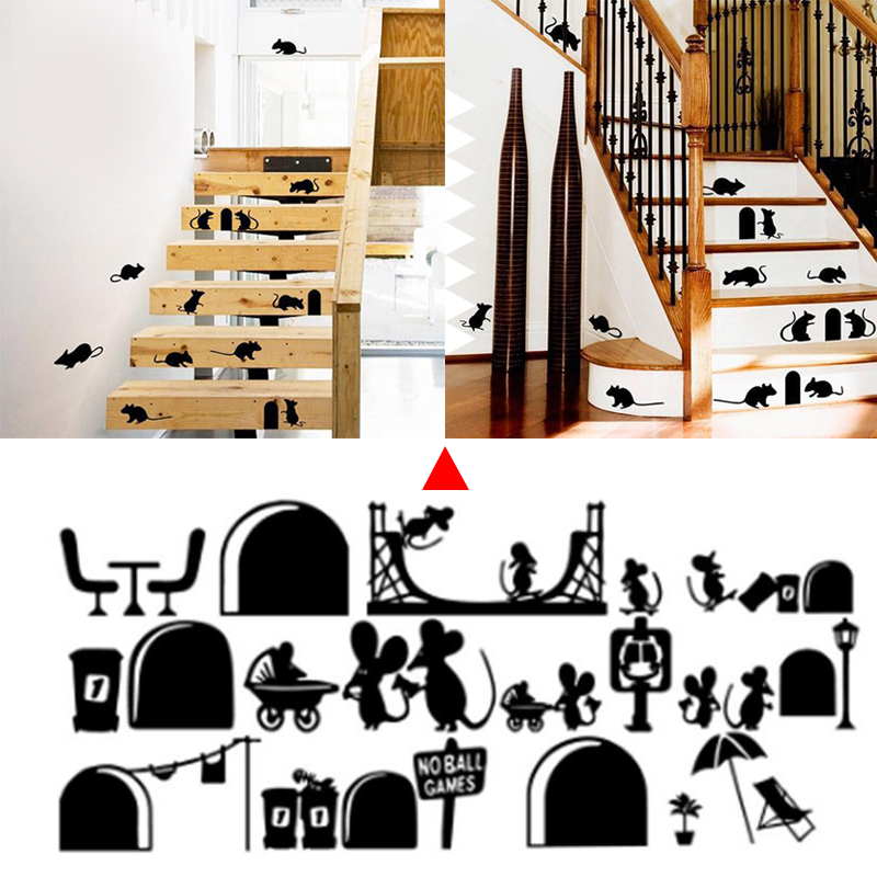 SOLEDI мультфильм мышь креативные наклейки на стену съемное настенное украшение предмет интерьера пол крыса животное Diy магазин спальни