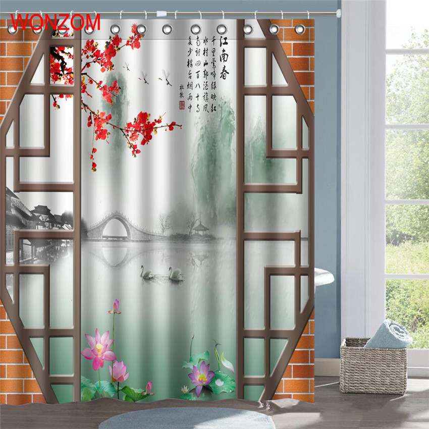 Wonzom Chinese Style Landscape Polyester Fabric Shower Curtain Bathroom Decor Waterproof Cortina De Bano With 12