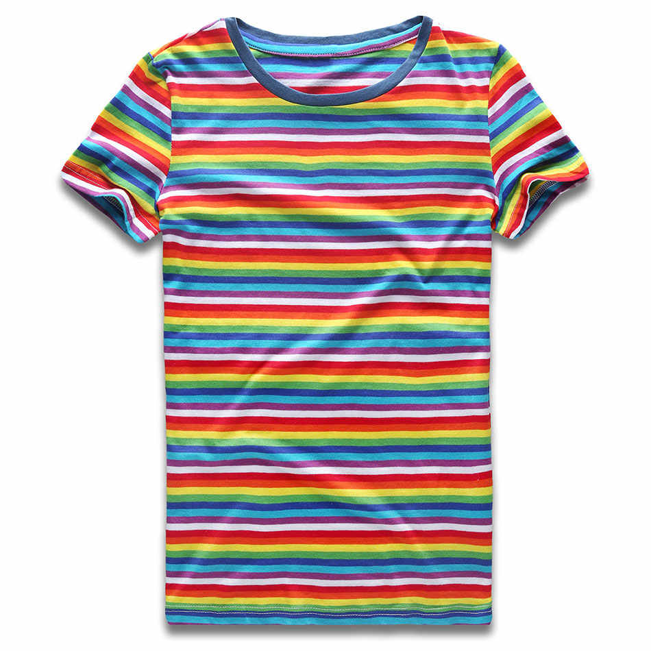 Rainbow Striped for Women Round NeckT Shirts Short Sleeve Colorful Stripes Tees for Women Top Woman