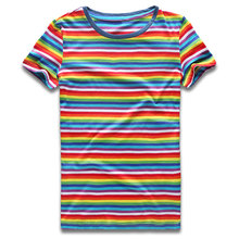 Rainbow Striped for Women Round NeckT Shirts Short Sleeve Colorful Stripes Tees Top Woman