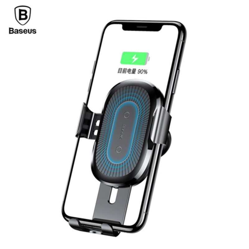 Baseus 10W Wireless Charger Car Holder For iPhone X 8 Samsung Note8 S8 QI Wireless Charging Charger Car Mount Phone Holder Stand Зарядное устройство
