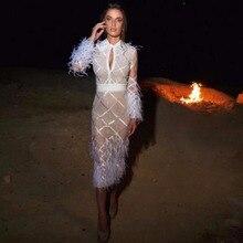 Высокое качество белые перья с длинным рукавом выдалбливают перо вискоза бандаж Вечернее Платье облегающее платье