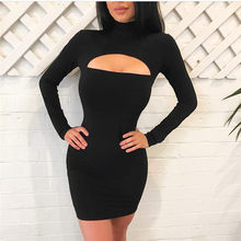 Women Turtleneck Long Sleeve Low Cut Mini Bodycon Dress 2019 Autumn Winter Black Sexy Club Party Dress Femme Slim Dress Vestidos(China)