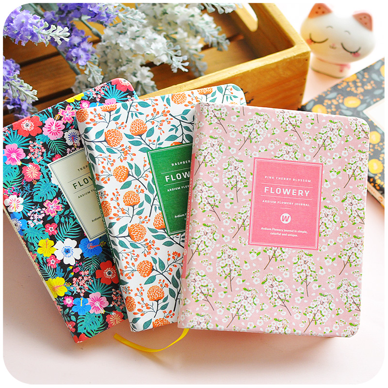 Flowery Cute Schedule Agenda Organizer Planner Book, Leather Cover Weekly/Monthly/Daily Planner Notebooks And Journals girly notebook stationery suit clips pens daily plan agenda sticky notes great value planner organizer set cute journals series