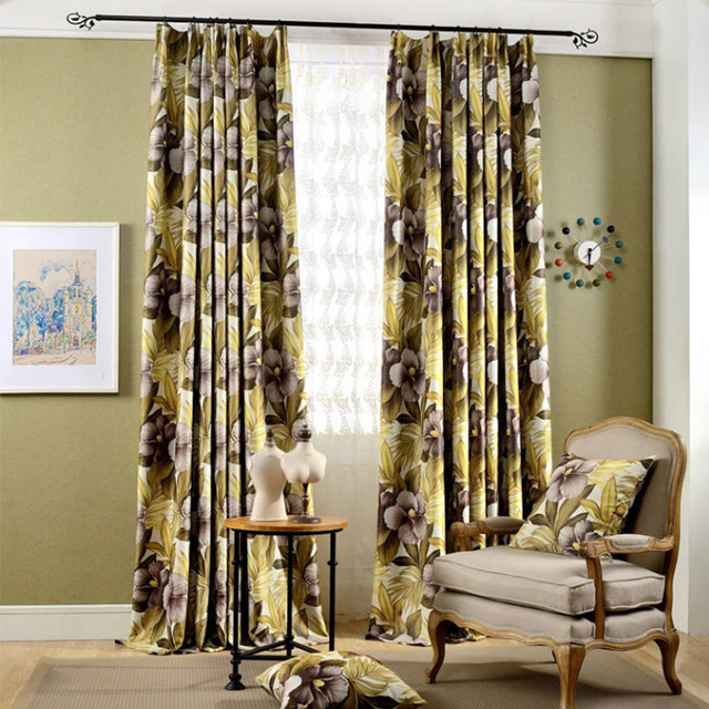 Southeast Asia Yellow Floral Printed Blackout Curtains For Living Room  Modern Curtains For The Bedroom Elegant