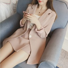 Women's Set 2017 Korean Fashion Autumn Blazer Suit Lapel Long Sleeve Pink Striped Jacket Shorts Blazers Office 2 Pieces