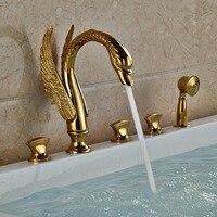 Лебедь Стиль золото закончили на бортике Ванная комната ванна кран 3 ручки с латунь ручной душ
