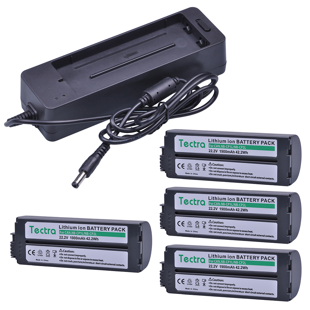 4 x Battery + Charger for Canon NB-CP2LH, NB-CP2L, NB-CP1L, CG-CP200 and Canon Compact Photo Printers SELPHY CP800, CP900, CP910