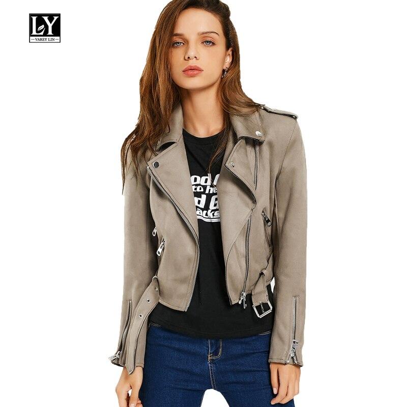 863a0a58c Ly Varey Lin mujeres Turn-down Collar gamuza chaqueta abrigo diseño corto  cremallera señora ...