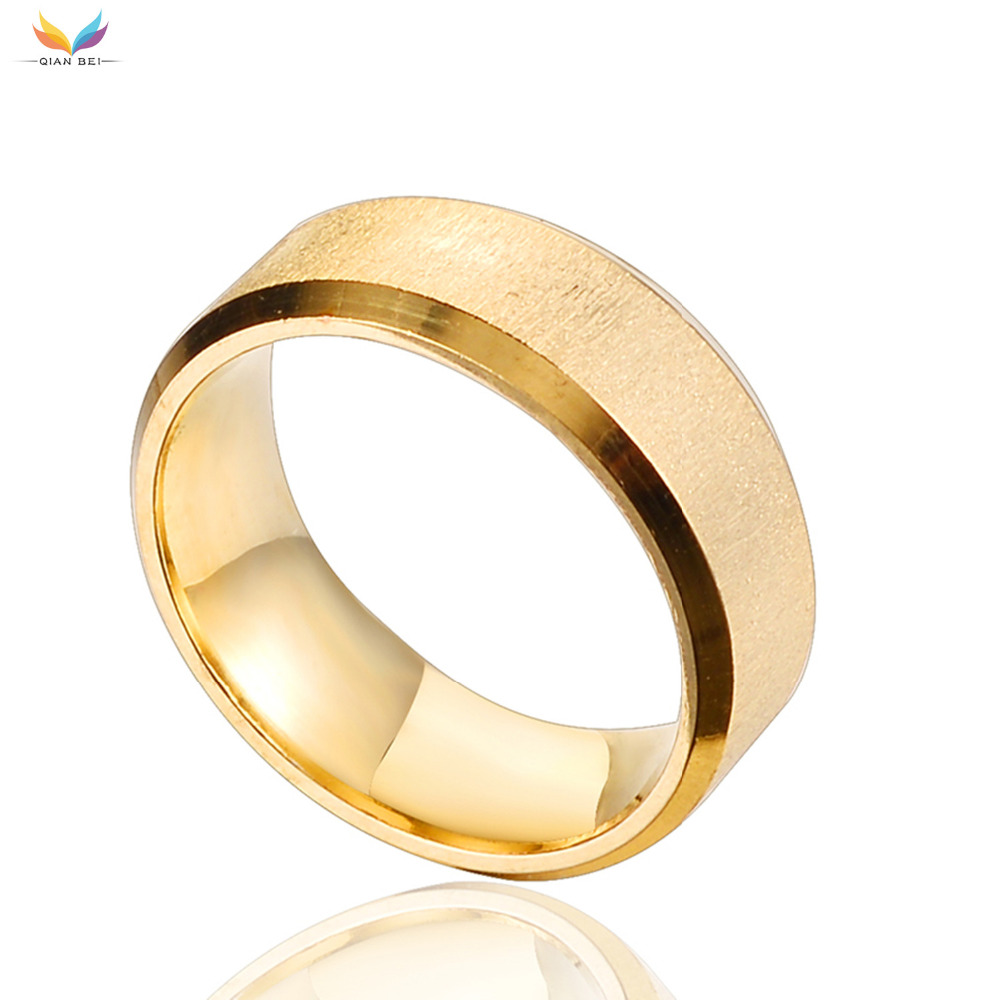 Legal simples anel masculino de aço inoxidável ouro anel de dedo masculino festa de casamento moda jóias