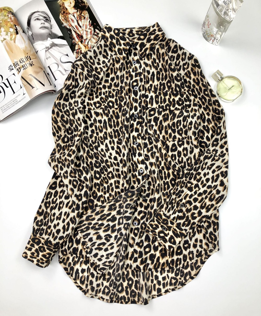 100% natural silk blouse animal print leopard shirt chiffon blusas women sexy v neck lady high quality runway blouse 2019 - 5