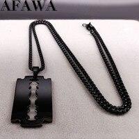 2019 mode lame en acier inoxydable colliers hommes bijoux couleur noire gothique colliers et pendentifs bijoux collier homme N423S01