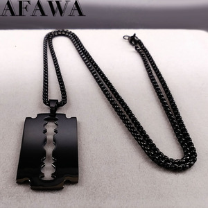 Fashion Blade Stainless Steel Necklaces Men Jewerly Black Color Gothic Necklaces & Pendants Jewelry collier homme N423S01(China)